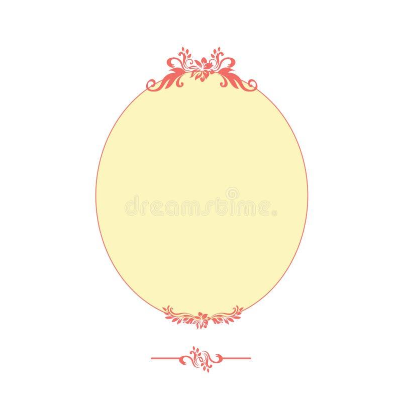 Struttura ovale di progettazione calligrafica rosa isolata sul bianco illustrazione di stock