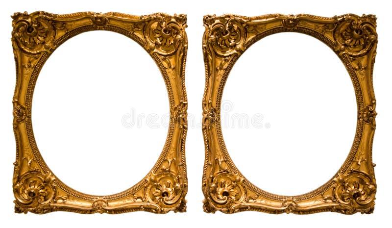 Struttura ovale dorata per fotografia su fondo isolato immagini stock libere da diritti