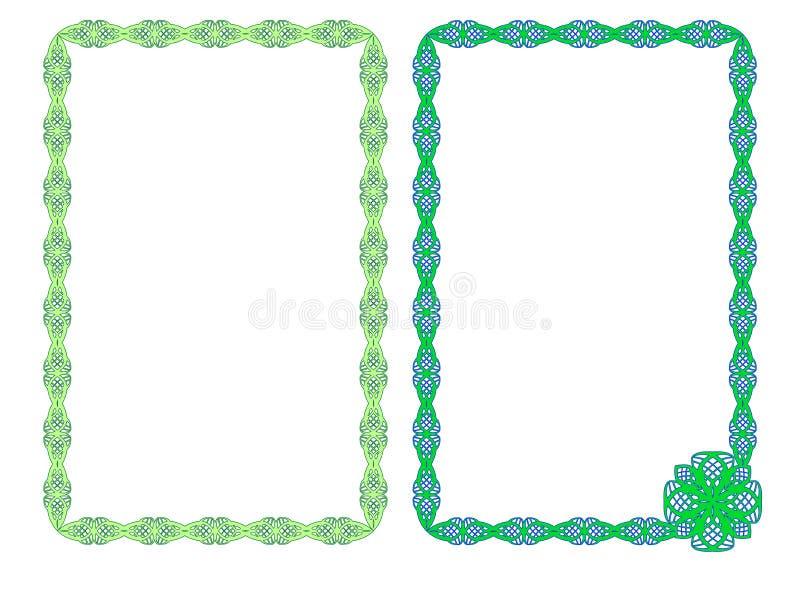 struttura Pagine con l'ornamento di colore verde Ornamento Openwork Struttura per una foto Blocchi per grafici decorativi illustrazione di stock