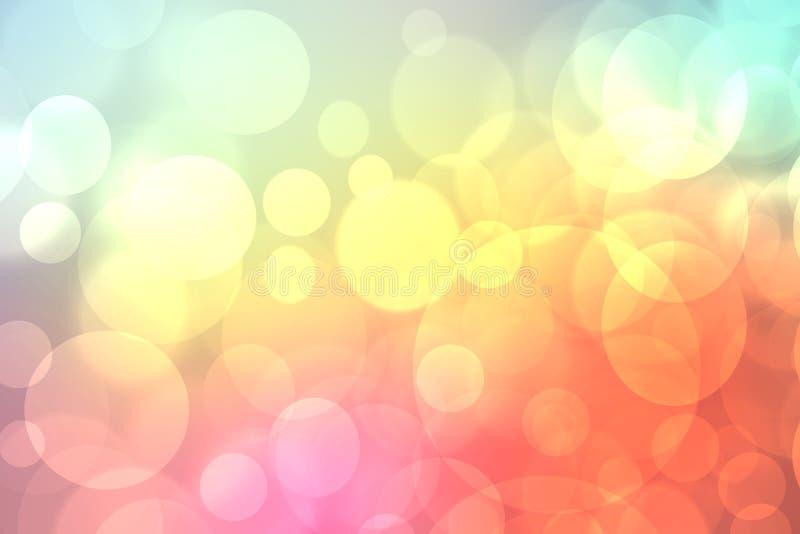 Struttura pastello leggera del fondo del bokeh di estate viva della molla vaga estratto con i cerchi di colore molli luminosi Spa royalty illustrazione gratis