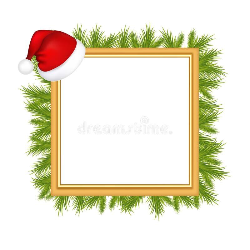 Struttura per la foto con il cappello del Babbo Natale illustrazione di stock