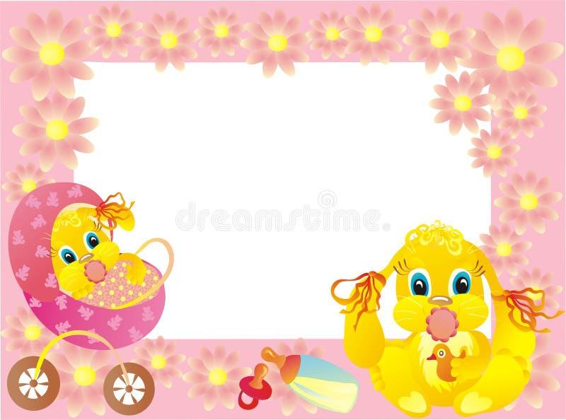 Struttura per la foto con il coniglietto, vettore del bambino   royalty illustrazione gratis