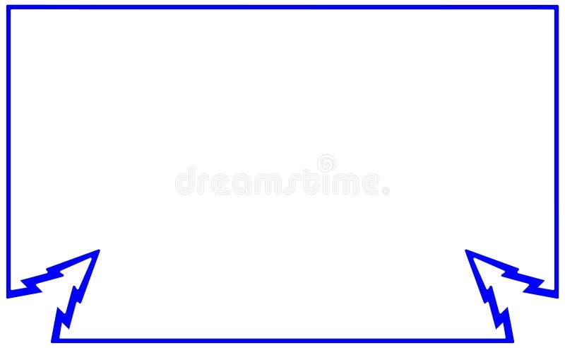 Struttura piana blu della siluetta del campione con l'abete dell'elemento d'angolo Illustrazione dell'albero di Natale del nuovo  illustrazione vettoriale