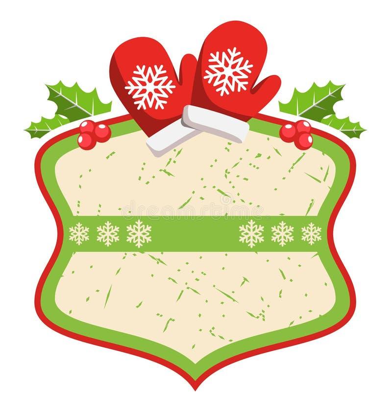 Struttura piana dell'icona dell'etichetta di Natale con i guanti e l'agrifoglio di inverno sopra illustrazione di stock