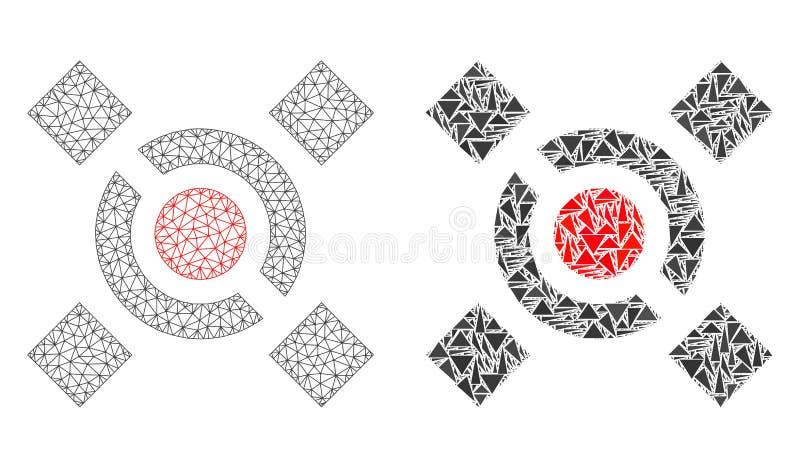 Struttura poligonale Mesh Central Link del cavo ed icona del mosaico illustrazione vettoriale