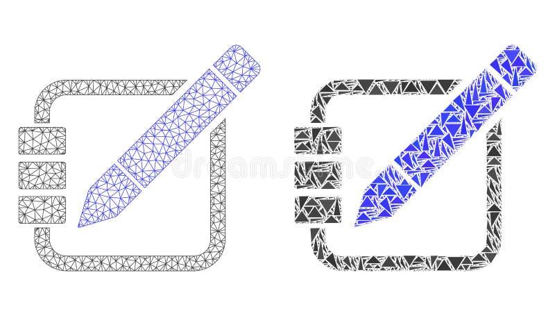 Struttura poligonale Mesh Edit Records del cavo ed icona del mosaico illustrazione vettoriale