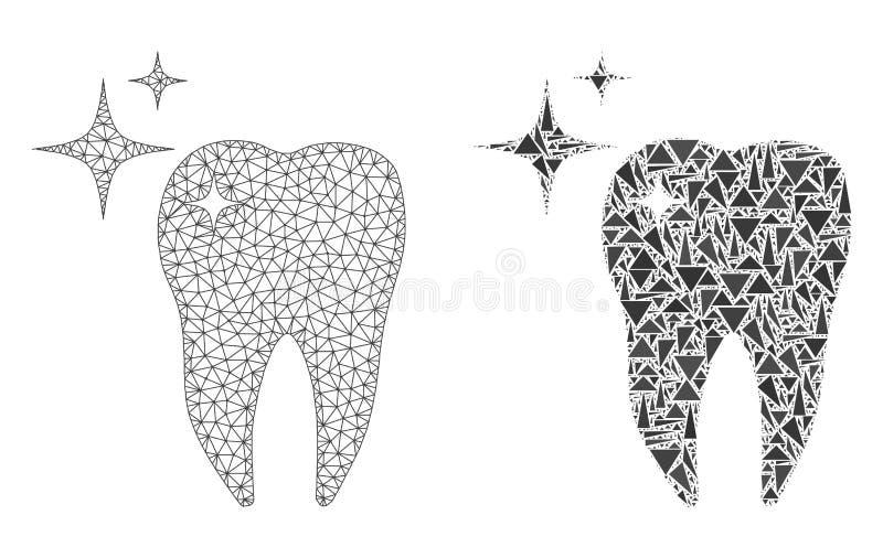 Struttura poligonale Mesh Excellent Tooth del cavo ed icona del mosaico illustrazione di stock