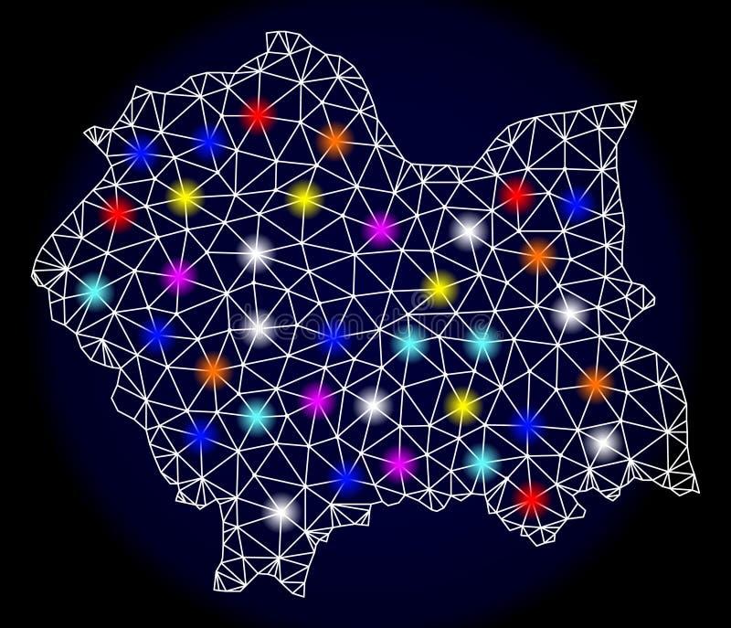 Struttura poligonale Mesh Map del cavo di Lesser Poland Province con i punti di luce intensa illustrazione vettoriale