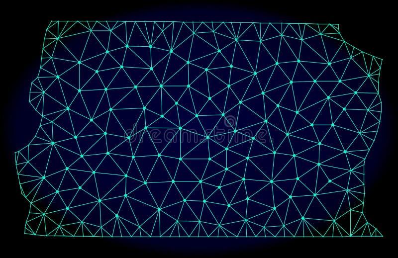 Struttura poligonale Mesh Vector Abstract Map del cavo del Brasile - Distrito federali illustrazione di stock