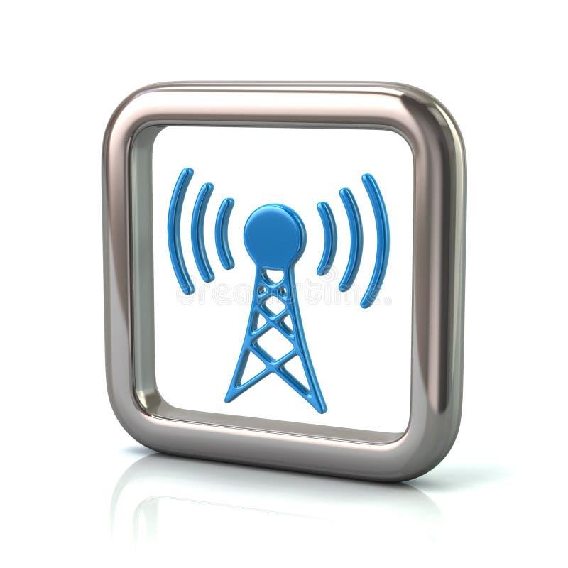 Struttura quadrata arrotondata metallica con l'icona blu della torre del trasmettitore illustrazione di stock