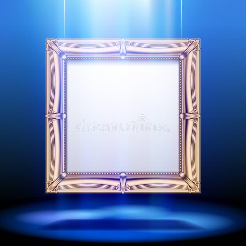 Struttura quadrata classica dell'oro alla luce blu royalty illustrazione gratis