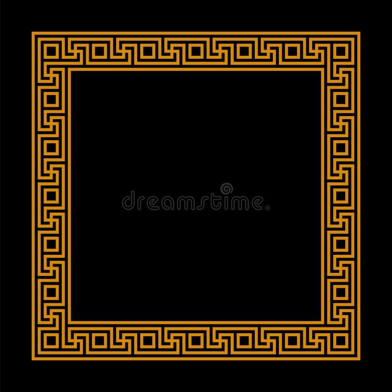 Struttura quadrata con il modello senza cuciture di meandro Chiave greca Motivo ripetuto cerchio greco confine decorativo di mean illustrazione di stock