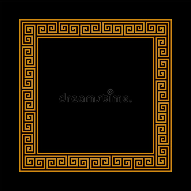 Struttura quadrata con il modello senza cuciture di meandro Motivo ripetuto cerchio greco confine decorativo di meandros di vetto illustrazione di stock