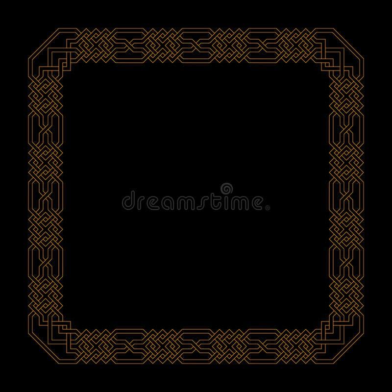 Struttura quadrata di vettore con il modello islamico senza cuciture motivo ripetuto antico confine decorativo dell'oro Fondo geo illustrazione di stock