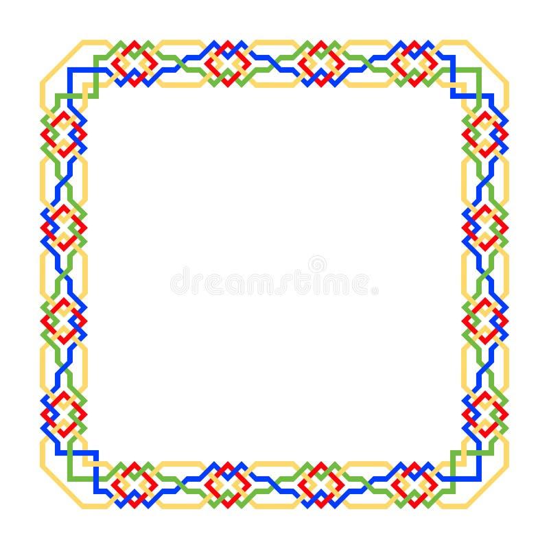 Struttura quadrata di vettore con il modello islamico senza cuciture motivo ripetuto antico un confine decorativo costruito dalle royalty illustrazione gratis