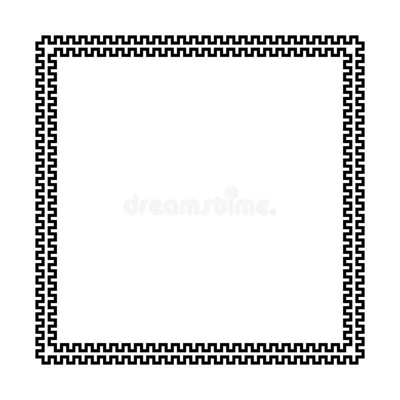 Struttura quadrata di vettore con il modello senza cuciture di meandro Motivo ripetuto cerchio greco Chiave greca confine nero de illustrazione di stock