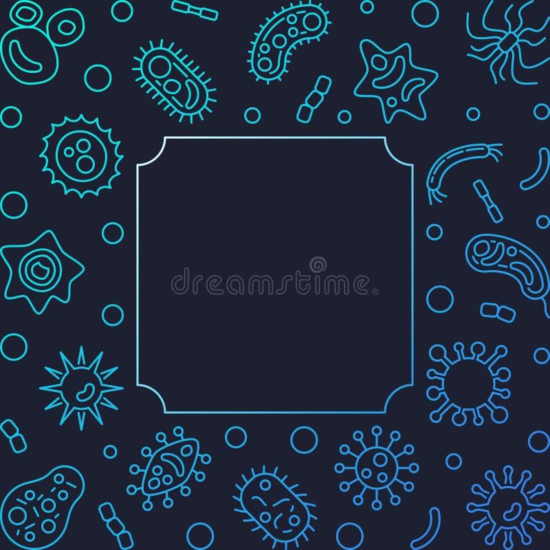 Struttura quadrata di vettore con le icone blu del profilo del microrganismo royalty illustrazione gratis