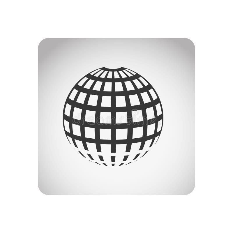struttura quadrata monocromatica con il mondo di griglia della sfera della siluetta illustrazione vettoriale