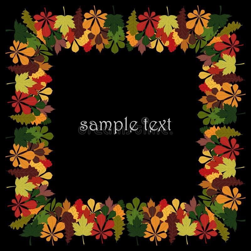 Struttura quadrata per testo o la foto, dalle foglie di autunno variopinte della quercia, dell'acero e della castagna illustrazione di stock
