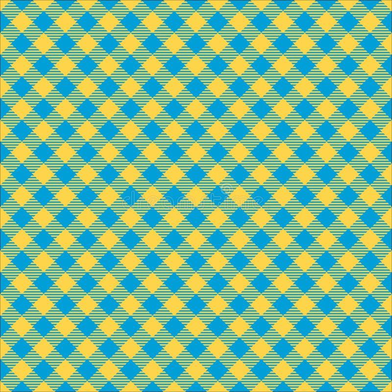 Struttura a quadretti diagonale senza cuciture del fondo del modello del tessuto di verde di calce e del blu royalty illustrazione gratis