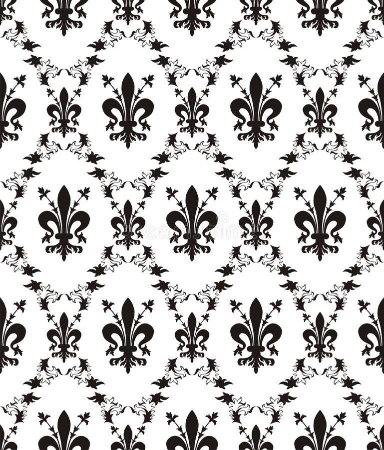 Struttura reale del damasco senza giunte con il fleur-de-lis royalty illustrazione gratis