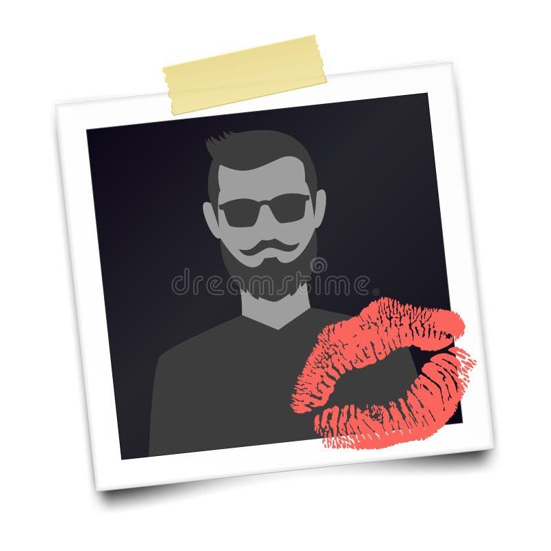 Struttura realistica d'annata della foto con la siluetta barbuta dell'uomo illustrazione di stock