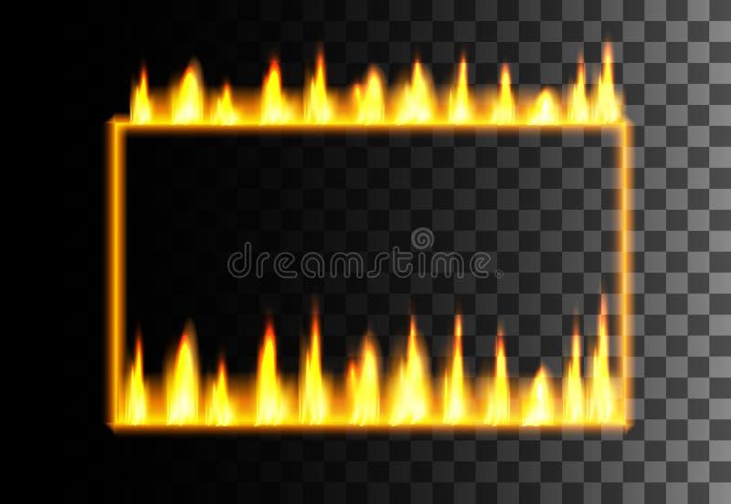 Struttura rettangolare astratta di stile al neon Struttura gialla di effetto Brillando, confine d'ardore Illustrazione su fondo t illustrazione di stock