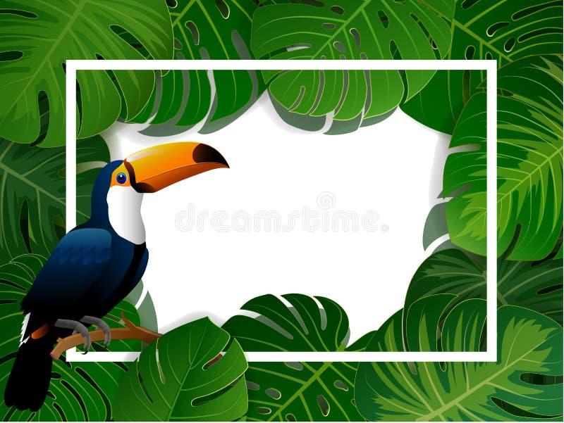 Struttura rettangolare dell'isola tropicale di belle piante illustrazione di stock