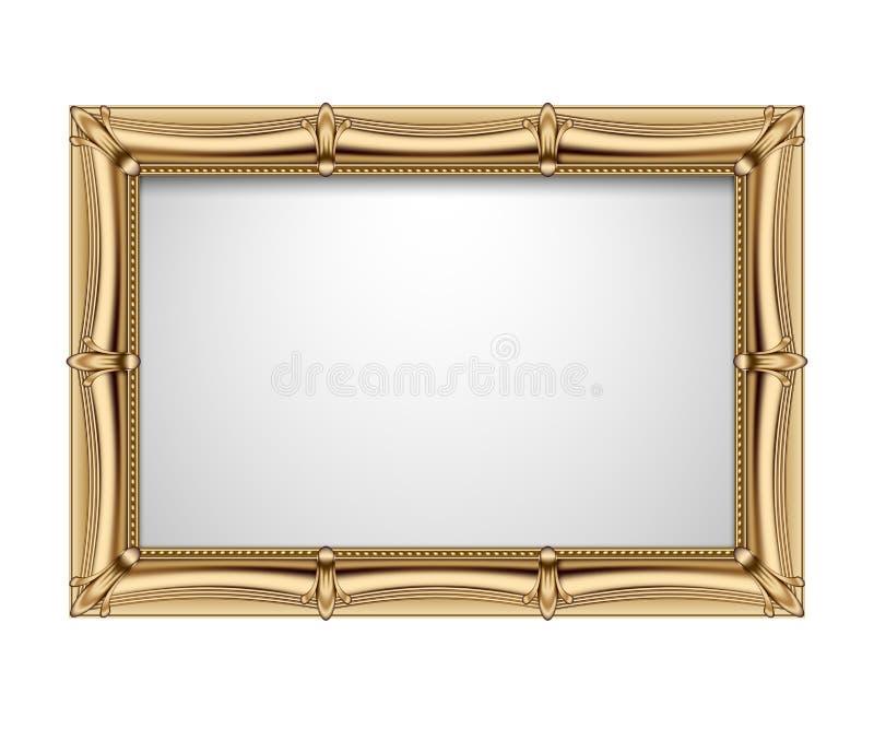Struttura rettangolare dell'oro classico isolata su fondo bianco royalty illustrazione gratis