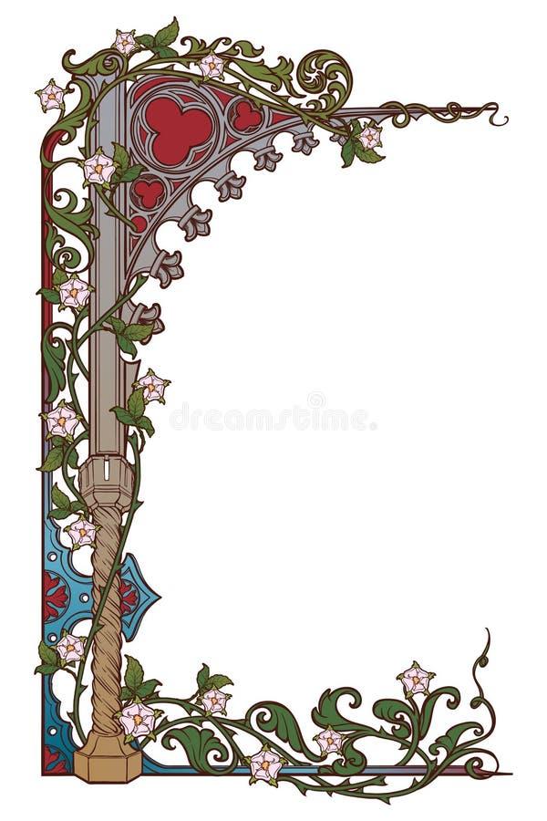 Struttura rettangolare di stile medievale del manoscritto L'arco aguzzo di stile gotico ha intrecciato con le ghirlande rosa vert royalty illustrazione gratis