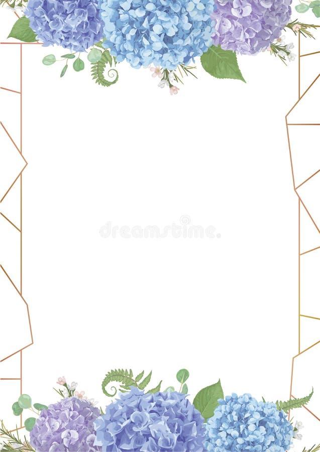 Struttura rettangolare dorata decorativa con foglie, eucalyptus dei rami, pernettya, salal, chamaelaucium, felce Blu, porpora, di royalty illustrazione gratis