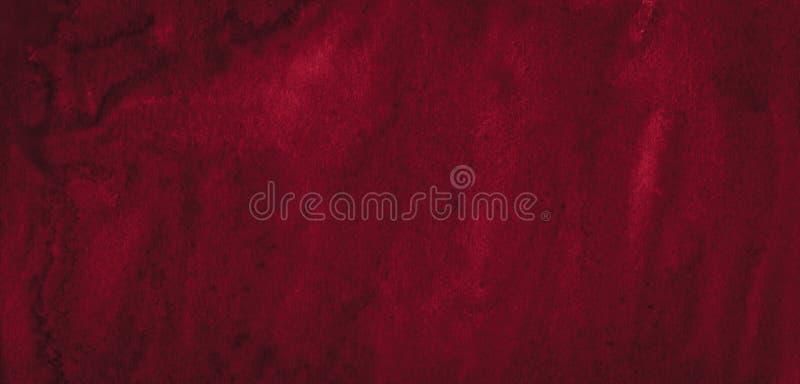 Struttura ricca dell'acquerello di Borgogna con i colpi lacerati e le bande Fondo astratto per progettazione, disposizioni, model fotografia stock libera da diritti