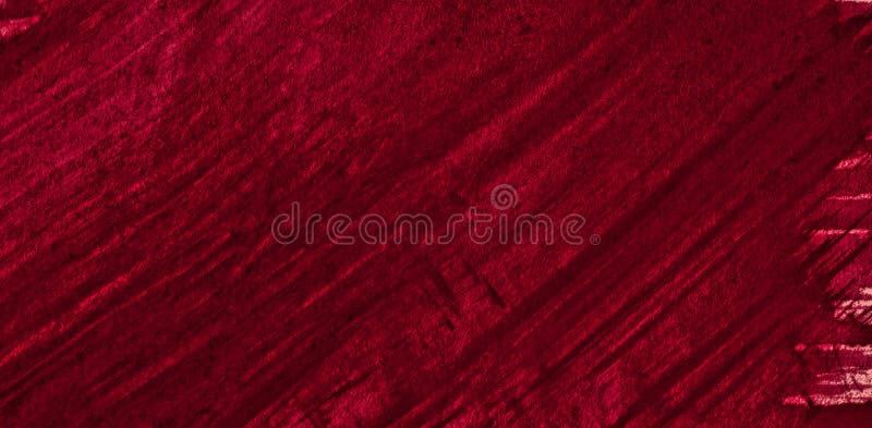 Struttura ricca dell'acquerello di Borgogna con i colpi lacerati e le bande Fondo astratto per progettazione, disposizioni, model fotografie stock libere da diritti
