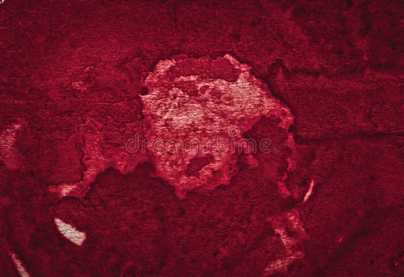 Struttura ricca dell'acquerello di Borgogna con i colpi lacerati e le bande Fondo astratto per progettazione, disposizioni, model fotografie stock