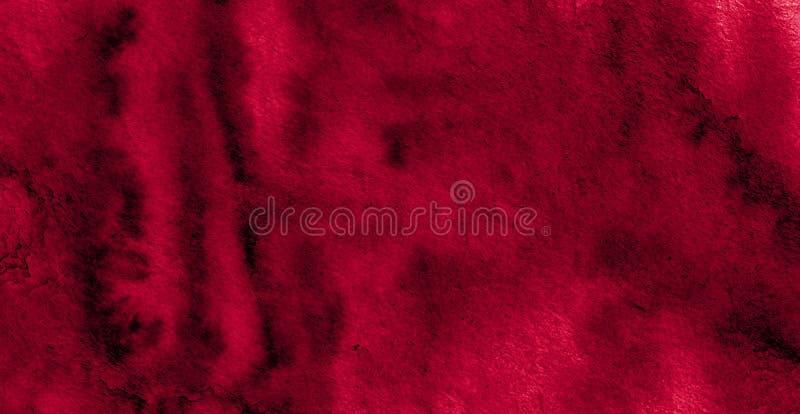 Struttura ricca dell'acquerello di Borgogna con i colpi lacerati e le bande Fondo astratto per progettazione, disposizioni, model immagini stock libere da diritti