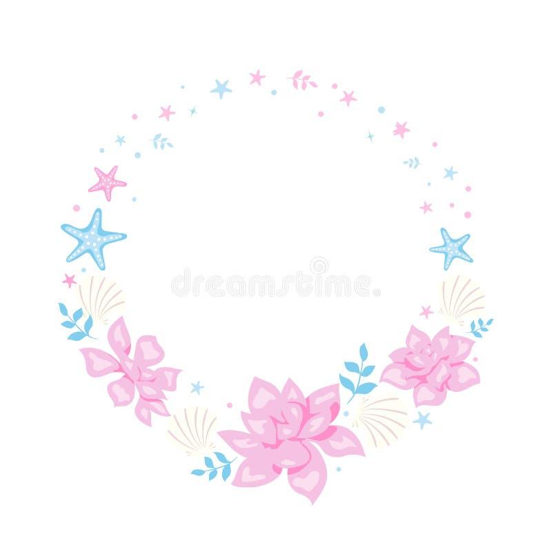 Struttura romantica con i fiori, le stelle di mare, le coperture e le foglie rosa Pagina floreale per progettazione romantica illustrazione vettoriale