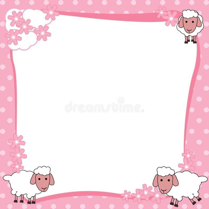 Struttura rosa del confine con le pecore sveglie royalty illustrazione gratis