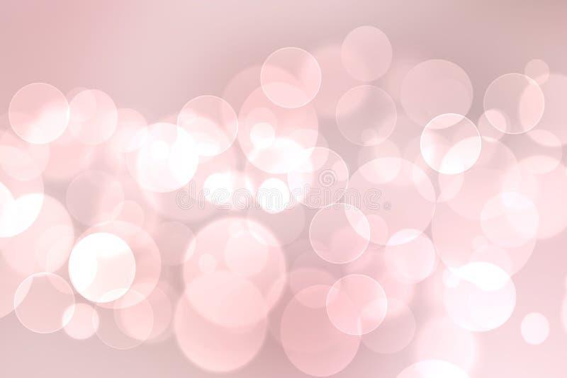 Struttura rosa pastello delicata leggera del fondo del bokeh di estate viva della molla vaga estratto con i cerchi di colore moll illustrazione vettoriale