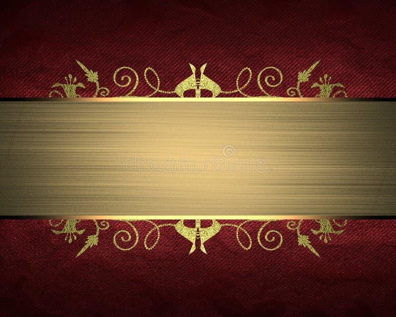 Struttura rossa con il nastro dell'oro Elemento per progettazione Mascherina per il disegno copi lo spazio per l'opuscolo dell'an illustrazione di stock