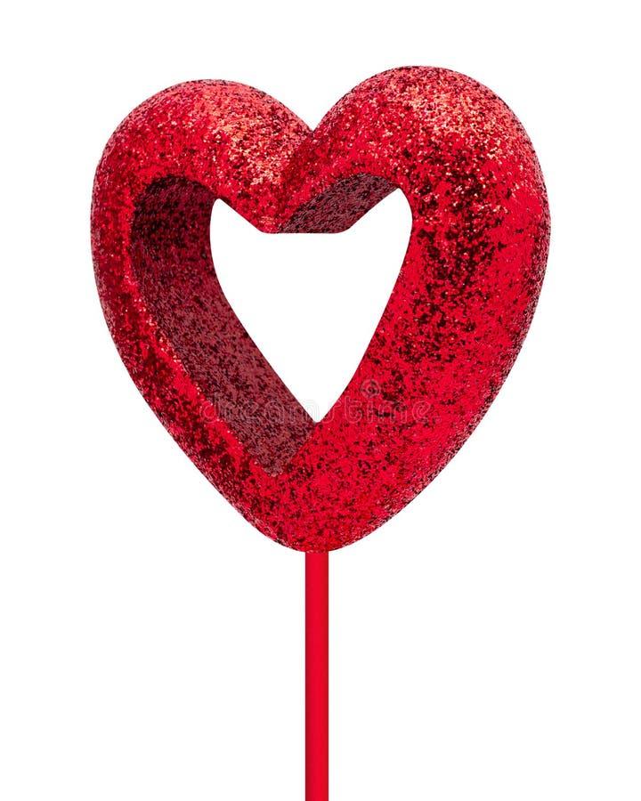 Struttura rossa del cuore isolata su fondo bianco Cuore del biglietto di S. Valentino con il bastone fotografie stock libere da diritti