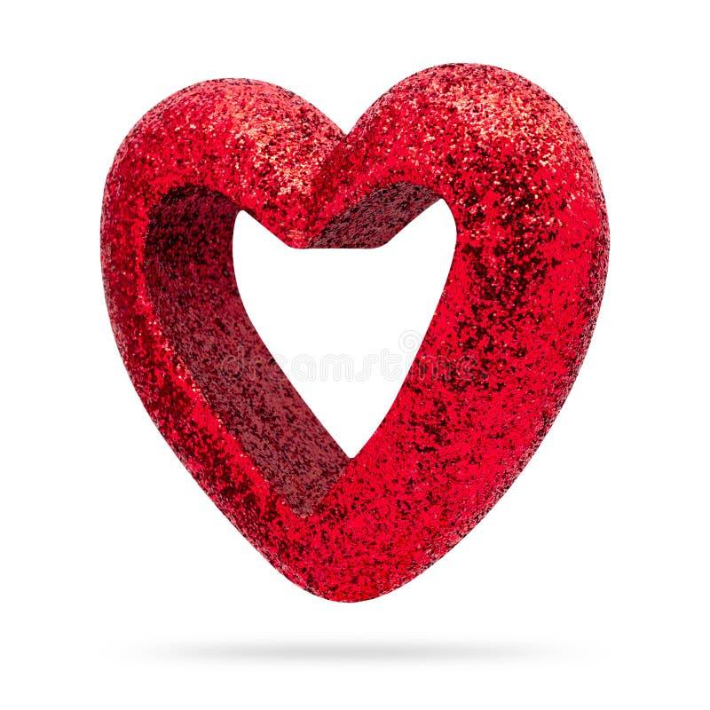 Struttura rossa del cuore isolata su fondo bianco Valentine Heart immagine stock