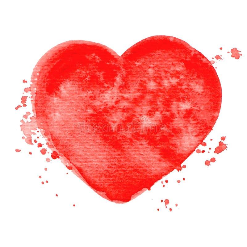 Struttura rossa della pittura dell'acquerello del cuore di vettore isolata su bianco royalty illustrazione gratis