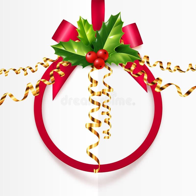 Struttura rossa di forma della palla di Natale con le foglie dell'agrifoglio e la serpentina dorata illustrazione di stock