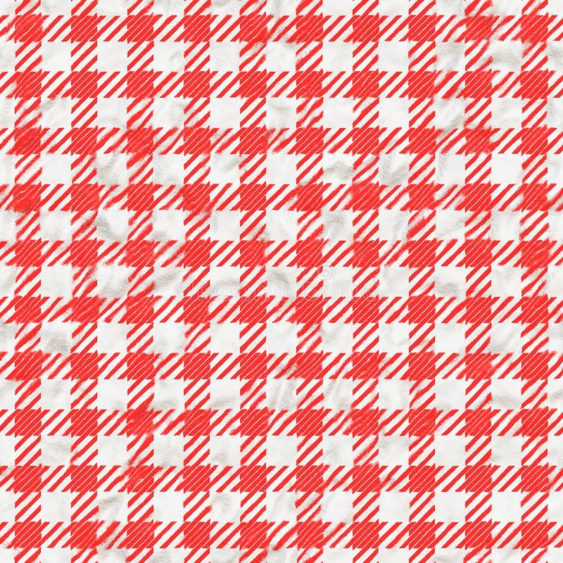 Struttura rossa e bianca della tovaglia del percalle senza cuciture immagine stock