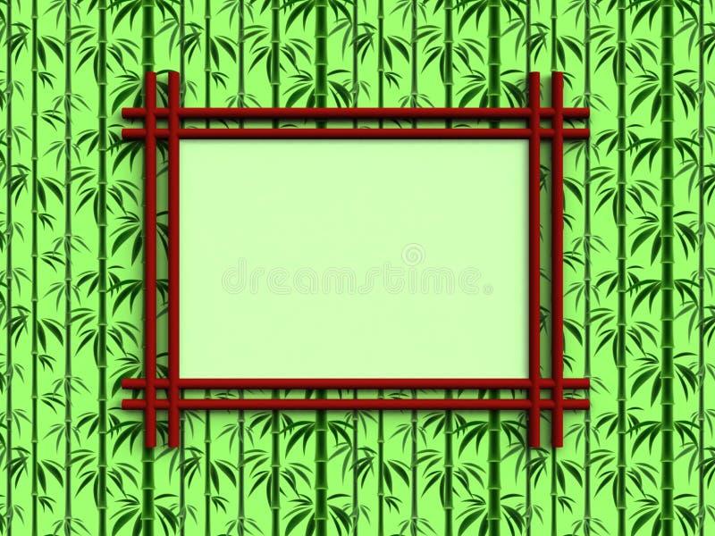 Struttura rossa semplice per testo o immagini che appendono sulla parete decorata con il modello di bambù illustrazione vettoriale
