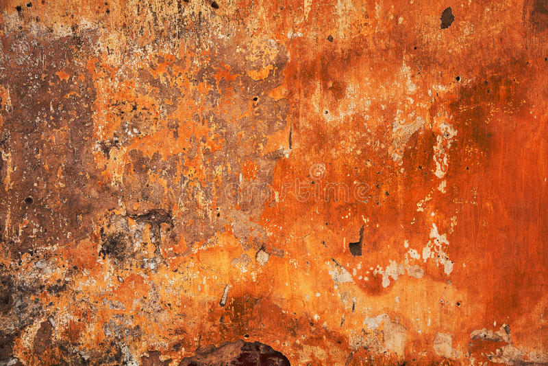 Struttura rosso arancio luminosa astratta Fondo di lerciume - spazio vuoto per le fantasie del progettista Vecchia parete immagine stock libera da diritti