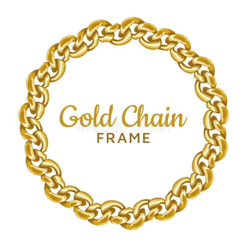 Struttura rotonda a catena del confine dell'oro Forma ondulata del cerchio della corona Immagine dei gioielli illustrazione vettoriale