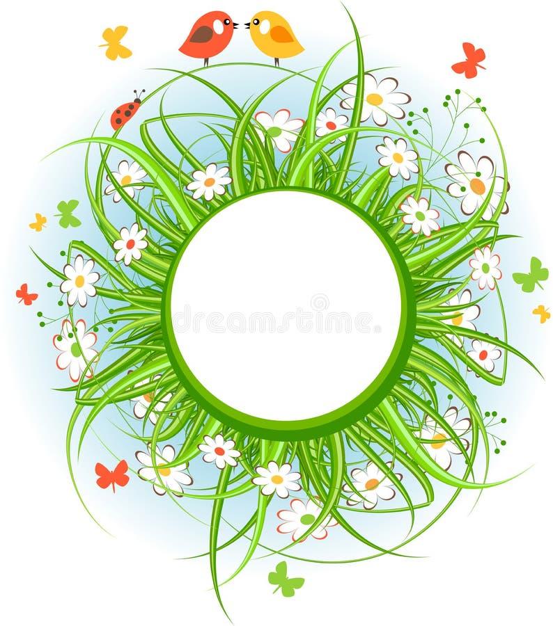 Struttura rotonda con erba e gli uccelli royalty illustrazione gratis