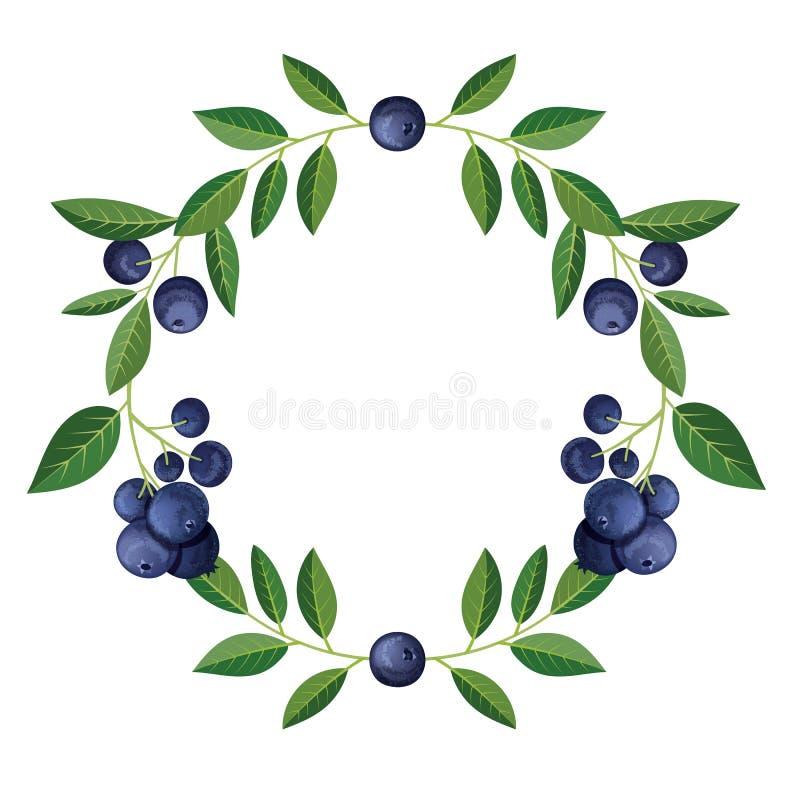 Struttura rotonda con la frutta deliziosa del mirtillo Illustrazione di vettore illustrazione di stock