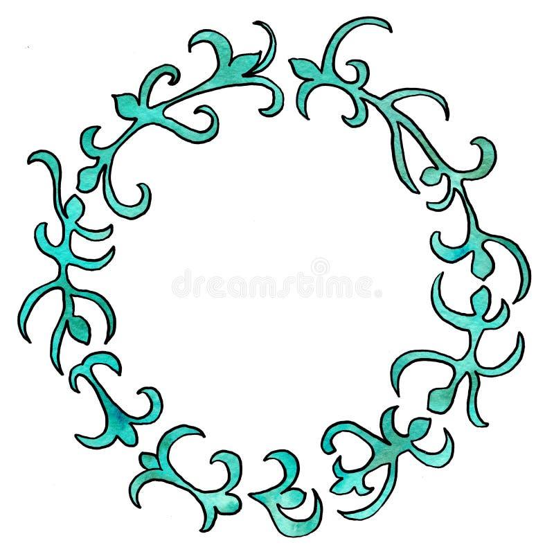 Struttura rotonda dei fiori Disegno dell'acquerello con un colpo di contorno su un fondo bianco, per la progettazione degli invit illustrazione di stock